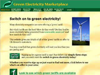 Green Electricity Marketplace website in 2000