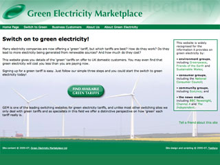 Green Electricity Marketplace website in 2007