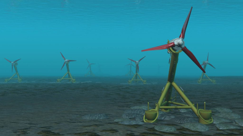 Illustration of a tidal turbine array - Andritz Hydro Hammerfest