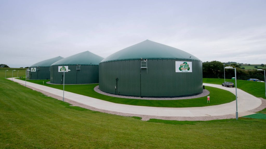 Digester vessels, Wyke Farms, Somerset
